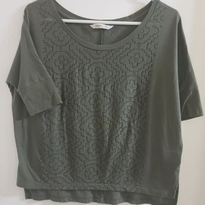 XS Olive Green Burnout Design Tunic Tee